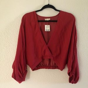 Urban Outfitters Red Flowy Crop